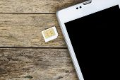 foto of micro-sim  - smart phone use with micro sim card black screen - JPG