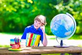 image of school lunch  - Child in school yard - JPG