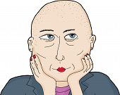 pic of shaved head  - One isolated grinning woman with shaved head - JPG