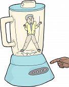 image of blender  - Finger over button with scared man inside blender - JPG