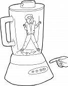 stock photo of blender  - Outline of screaming man stuck inside blender - JPG