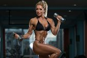 pic of bicep  - Mature Woman Working Out Biceps In Fitness Center  - JPG