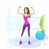 image of workout-girl  - Sport woman fitness girl exercise workout trainer - JPG