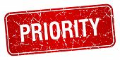 picture of priorities  - priority red square grunge textured isolated stamp - JPG