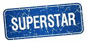 picture of superstars  - superstar blue square grunge textured isolated stamp - JPG