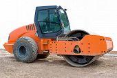 orange steamroller isolated