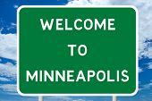 image of road sign  - Welcome to Minneapolis Road Sign - JPG