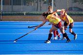 VALENCIA, SPAIN - JULY 27: Spain's National Women's Field Hockey Team plays the USA National Women's Team on July 27, 2010 in Valencia, Spain.