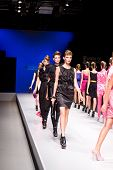 VALENCIA, SPAIN - SEPTEMBER 2:  Models on the catwalk wearing a Jose Castro design for the Valencia