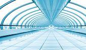 blue diminishing corridor, bridge interior