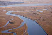 aerial view of marine estuary in south carolina usa