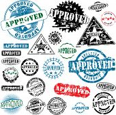 Collection of grunge office rubber stamps with word approved. See other rubber stamps in my portfolio.