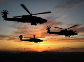 stock photo of military helicopter  - Three helicopters in Iraq over sunset  - JPG