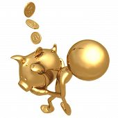 Catching Coins In Golden Piggy Bank
