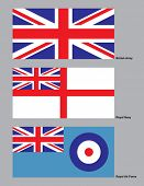 The 3 flags of the British military drawn in CMYK and placed on individual layers.