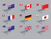 The flags of Australia, Canada, China, France, Germany, Japan, New Zealand, UK, and USA. Drawn in CM