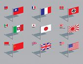 The World War Two flags of China, France, Germany, Italy, Japan (including naval ensign), Soviet Uni