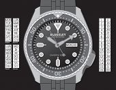 A diver's watch in grayscale on separate layers. Time, day (in English, Spanish, French, and German)