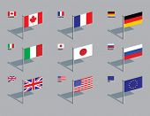 The flags of the members of the G8: Canada, France, Germany, Italy, Japan, Russia, UK, USA, plus the