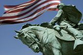 A detail of the Ulysses S. Grant Memorial with Old Glory flying in the background. (The Grant Memori