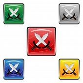 Square swords vector buttons