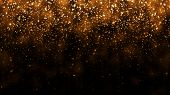 Background With Golden Glitter Falling Particles. Beautiful Holiday Background Template For Premium  poster