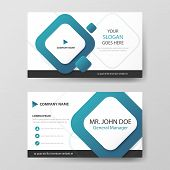 Blue Square Corporate Business Card, Name Card Template ,horizontal Simple Clean Layout Design Templ poster