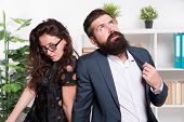 Tired Man With Beard And Sexy Woman. Young Coworkers. Businesspeople. Teamwork. Business Couple In O poster