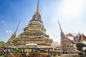 Beautiful Buddhist Temple Wat Pho In The Capital Of Thailand Bangkok Against The Blue Sky, Bright Co poster
