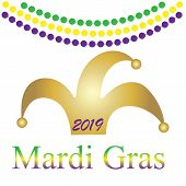 Mardi Gras. Festive Decoration. . Party Event Decoration. Lettering Typography. Holiday Card. Vector poster