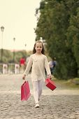 Girl Shopping On Calm Face Carries Shopping Bags, Urban Background. Kid Girl With Long Hair Fond Of  poster