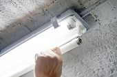 Electric Hands Changing Ceiling Fluorescent Lamp. The Concept Of Repair And Service. poster