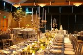 foto of wedding table decor  - Table setting at a luxury wedding reception - JPG