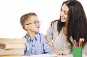 Mom Helps Her Son To Do Homework, Isolated On A White Background. Tenderness, Love. poster