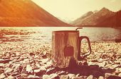 Thermos Cup Of Tea On Wood With Nature On Background. Tourism And Travel. Mag On The Mountain Lake O poster