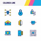 Vector Illustration Of 9 Security Icons Colored Line. Editable Set Of Security Setting, Data Encrypt poster