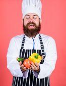 Choose Vegetarian Lifestyle. Man Cook Hat Apron Hold Fresh Vegetables. Buy Fresh Vegetables Grocery  poster