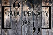 Handwriting Text Data Privacy Day. Concept Meaning Date In January To Raise Awareness And Promote Pr poster