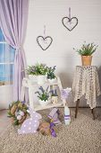 Shabby Chic Interior Decor For Farmhouse. Lavende, Plant And Vintage Table, Shelf Over Pastel Wall.  poster