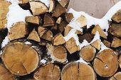 Stacks Of Firewood. Preparation Of Firewood For The Winter. Pile Of Firewood.firewood Background.pre poster