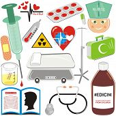 VECTOR - Medical Icons Set - Pill, Injection, Blood Drop, Hospital Bed, Stethoscope, plaster, First