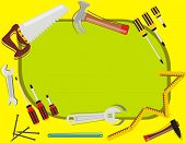 Construction Background - with place for Text - Many Tools Objects (hammer, screwdriver, steel nail,