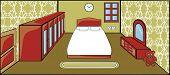 VECTOR - Bedroom with Furniture - Interior Design - Double Bed, Cabinet Mirror, Cupboard , Door, Window, Carpet and Clock