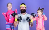 Follow Father. Girls Cute Kids Exercising With Dumbbells With Dad. Motivation And Sport Example Conc poster