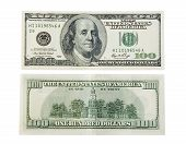 image of one hundred dollar bill  - One hundred dollar on white - JPG