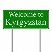 Welcome to Kyrgyzstan, concept road sign