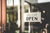 Open Sign Hanging Front Of Cafe With Colorful Bokeh Light Abstract Background. Business Service And  poster