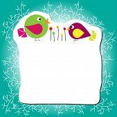 Постер, плакат: Две птицы стояли возле цветок рамка