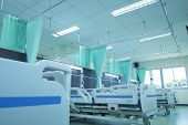 Clean Patient Beds In Hospitals,interior Of Empty Hospital Room,hospital Room With Beds And Comforta poster