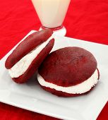 Red Velvet Whoopie Pies On Plate